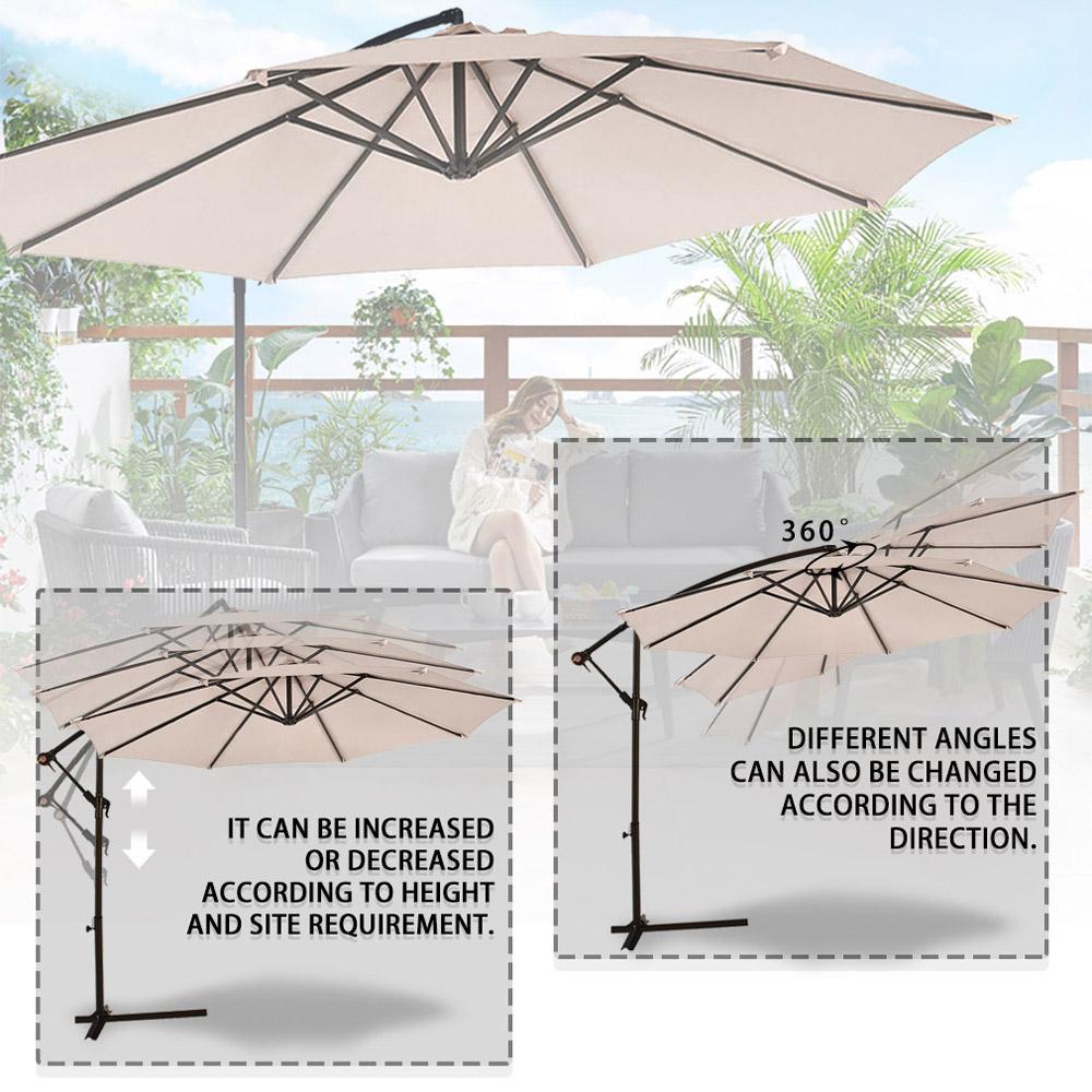 Sombrilla-Parasol-3-metros-Terraza-Jardin-Patio-Ajustable-Proteccion-Solar-UV miniatura 4