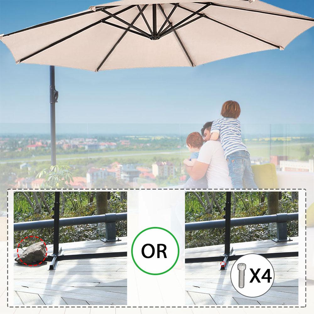 Sombrilla-Parasol-3-metros-Terraza-Jardin-Patio-Ajustable-Proteccion-Solar-UV miniatura 5