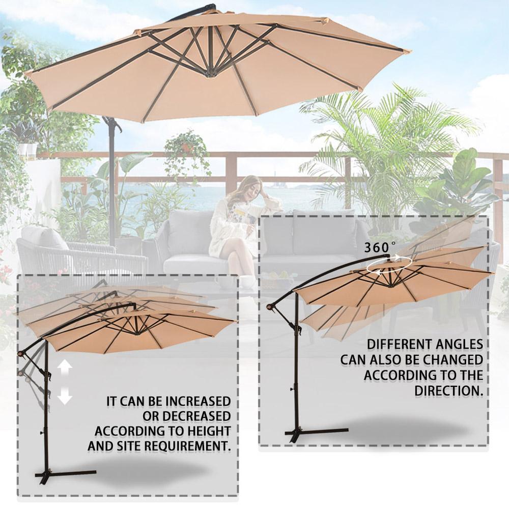 Sombrilla-Parasol-3-metros-Terraza-Jardin-Patio-Ajustable-Proteccion-Solar-UV miniatura 8
